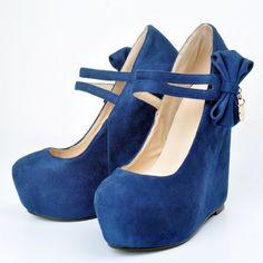 65.00$  Watch here - http://alieqs.shopchina.info/1/go.php?t=32471240302 - Women shoes New Cute  Woman  Shoes Round Toe Wedges  Heel Pumps  Big Size Plus Size Shoes  #buyonline