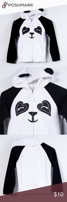 """🐼 Old Navy Panda Jacket Adorable hooded fleece jacket by Old Navy.Features hood with cute black ears sewn in, zip front closure with """"hoodie"""" style front pockets.Applique eyes, nose/mouth.White hood and body with black sleeves.Normal wear but excellent condition with no holes, tears, etc.Girls size medium (8). Old Navy Jackets & Coats"""