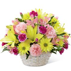 The FTD® Basket of Cheer® Bouquet sends your warmest wishes for happiness with each sunlit bloom! Yellow Asiatic Lilies and traditional daisies are vibrant and beautiful arranged amongst pink carnatio Cheap Flowers, Fresh Flowers, Spring Flowers, Lily Bouquet, Flower Bouquet Wedding, Amazing Flowers, Pretty Flowers, Peruvian Lilies, Anniversary Flowers