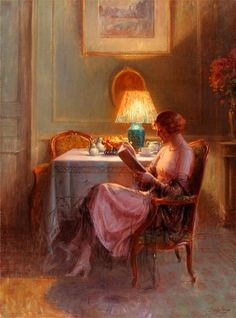 Reading by the Lamp, Delphin Enjolras. French Academic Painter (1857 - 1945)