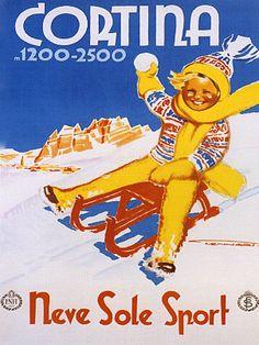 Cortina - Vintage Ski Poster Italy