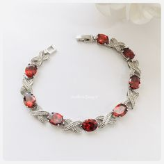 Red Crystal Bracelet Valentines Day Gift Garnet Ruby Siam Gifts for Mom Gifts for Wife Gifts for Girlfriend Infinity Bracelet Flower Girl Jewelry, Flower Girl Bracelets, Girls Jewelry, Flower Bracelet, Crystal Bracelets, Crystal Earrings, Statement Earrings, Bridal Bracelet, Pearl Bracelet