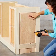 build a kitchen island using stock cabinets use a spacer to set the height of the end panel on the island building kitchen island with stock cabinets Kitchen Island Using Stock Cabinets, Kitchen Cabinets End Panels, Blue Kitchen Island, Refinish Kitchen Cabinets, Base Cabinets, Kitchen Furniture, Kitchen Islands, Furniture Ideas, Build Kitchen Island