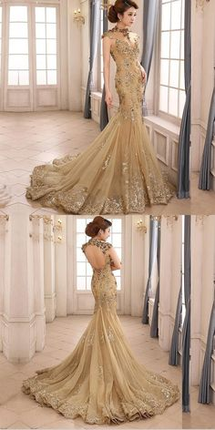 Modest Mermaid Sleeveless Gold Tulle Floor Length Prom Dresses With Appliques,High Neck Long Prom Dresses Online Unique Prom Dresses, Prom Dresses Online, Mermaid Prom Dresses, Best Wedding Dresses, Amazing Dresses, Beautiful Gowns, Ball Gowns, Evening Dresses, Gold Tulle