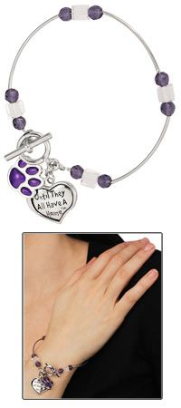 Until They All Have a Home™ Purple Paw Charm Bracelet at The Animal Rescue Site  This is so pretty