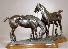 Bronze Horse Sculpture / Equines sculpture by artist Gill Parker titled: 'Pony Lines (Small bronze Two Polo Ponies Between Chukkas sculptures)'