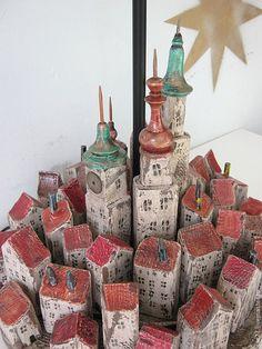 "Купить Лампа ""Город"" - освещение, лампа настольная, лампа, ручная работа, авторская работа, на заказ"