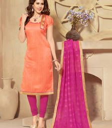 Buy Coral lace silk salwar with dupatta dress-material online