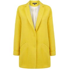 Warehouse Textured Boucle Coat (90 RON) ❤ liked on Polyvore featuring outerwear, coats, jackets, coats & jackets, yellow, oversized coat, boucle coat and yellow coat