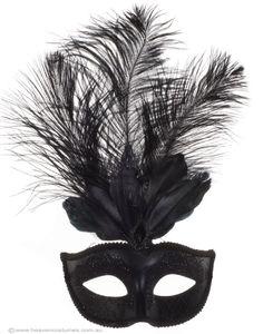 Elegant Tall Feather Black Masquerade Mask