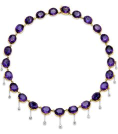 An Amethyst and Diamond Necklace. The continuous course of twenty-fine amethysts weighing approximately 110.00 carats, embellished by a knife-edge drop fringe set with old mine-cut diamonds, central drop detachable, mounted in 18k yellow and white gold, length 16 inches. Weight: 40.6 grams Amethyst: medium purple Diamonds: 13 old mine-cut diamonds for a estimated total weight of 1.45 carats.
