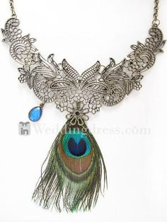 Elegant Peacock Feather Necklace  Accessories with Crystal