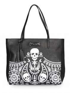 Bandana Skull Tote Bag with Tassels by Loungefly (Black/White)