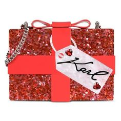Karl Lagerfeld Valentine Minaudiere (4 225 UAH) ❤ liked on Polyvore featuring bags, handbags, clutches, red, red handbags, red bow purse, glitter clutches, acrylic purse and karl lagerfeld handbags