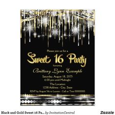 Black and Gold Sweet 16 Party Card Glamorous Sweet 16 birthday party invitation with glam sparkle silver black and gold. This beautiful chic sparkle silver, black and gold Sweet sixteen party invitation is easily customized for your event by adding your details in the font style and color and wording of your choice.