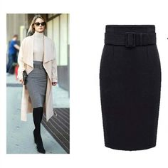 Autumn Winter Women Plus Size Thick Woolen Skirts Slim Belt Office Long Midi Skirt Step A line Skirt Saias Longa Faldas Mujer-in Skirts from Women's Clothing & Accessories on Aliexpress.com | Alibaba Group