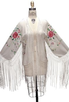 60ec0fe65ae2 The 1920 s Silk Embroidered Piano Shawl Jacket - White