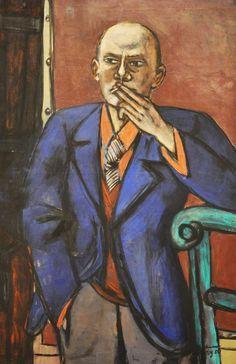 Max Beckmann, Zelfportret in blauw jasje, 1950, zijn 35ste en tevens laatste zelfportret.