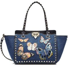 Valentino Embroidered Denim Rockstud Mini Tote (3,069,895 KRW) ❤ liked on Polyvore featuring bags, handbags, tote bags, blue, white tote bag, white tote, crossbody handbags, tote handbags and handbags totes