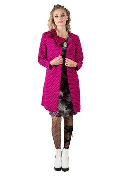 Sheba Jacket   Pink Polka Dot Dresses   Annah Stretton   Annah Stretton Cerise Pink, Black Spot, Pink Polka Dots, Winter Wardrobe, Faeries, Coat, Sweaters, Jackets, Outfits