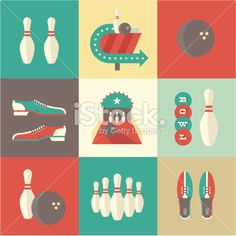 Bowling icons Royalty Free Stock Vector Art Illustration
