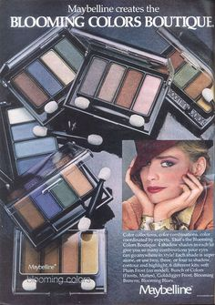 Blooming Colors Eye Shadow by Maybelline Vintage Makeup Ads, Retro Makeup, 80s Makeup, Vintage Beauty, Vintage Ads, Vintage Stuff, Beauty Ad, Beauty Products, Nostalgia