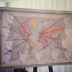 Another lovely world map wedding table plan! More map seating plan ideas at http://www.toptableplanner.com/blog/world-map-wedding-seating-plans