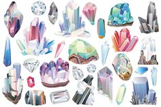 29 Crystals, Gems & Diamonds Clipart by Kenna Sato Designs on @creativemarket