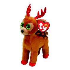 TY Beanie Baby Tinsel the Reindeer Plush Toy - I always wished my nose would grow, and then I lay in the snow! Ty Beanie Boos, Beanie Babies, Ty Stuffed Animals, Stuffed Toys, Ty Babies, Christmas Stocking Stuffers, Cool Toys, Reindeer, Kids Toys