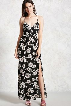 Forever 21 Contemporary - A woven maxi dress featuring an allover floral print, cami straps, a strappy self-tie back, V-neckline, an elasticized back waist, and a front slit detail.