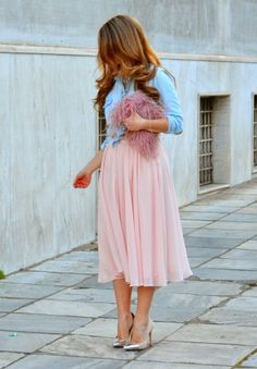 Barefoot Duchess: Pink Midi Skirt + Denim Shirt