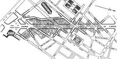 Haussmann's dramatic changes to Paris included ripping out much of the medieval slums and replace them with broad boulevards which can be seen in this overlay of the Avenue de' Opéra. Urban Design Diagram, Urban Design Plan, Plan Paris, Cities, Vertical City, Paris City, City Maps, Slums, Future City