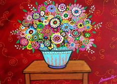Mexican Abstract Folk Art Flowers Blooms Painting