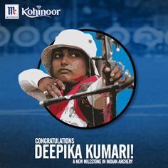 Kohinoor congratulates , Deepika Kumari on equalling the world-record score in Archery. We are proud of you! #KohinoorWomenAchiever