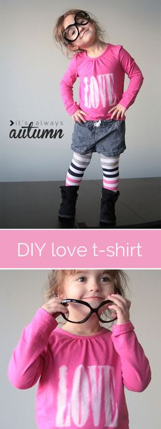 DIY VALENTINE'S DAY LOVE TEE | make a cute, modern #t-shirt for #Valentine's day using a super easy freezer paper + #bleach pen technique. click through for the step-by-step tutorial.