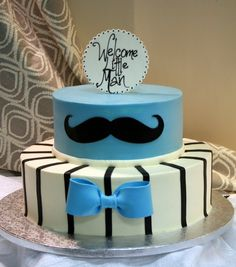 Little man baby shower. Bow tie and mustache cake. Dessert Works bakery. Westwood, MA. More