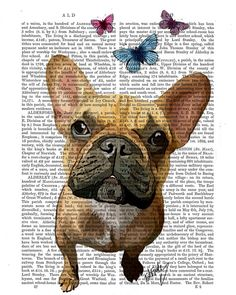 French Bulldog And Butterflies Dog Illustration by FabFunky, $15.00