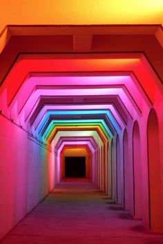 Light Art (artist - Bill Fitzgibbons) at the Street railroad underpass, Birmingham, Alabama. The light show constantly changes, and is a fun visual experience! Rainbow Aesthetic, Neon Aesthetic, Espace Design, Instalation Art, Macau, Neon Lighting, Event Lighting, Wedding Lighting, Light Art