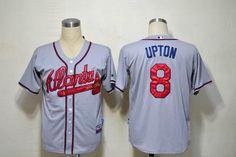Atlanta Braves #8 Justin Upton Grey MLB Jerseys