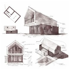 { sl house - new version } // living spaces // awesome sketch and design by Architecture Graphics, Architecture Student, Architecture Drawings, Facade Architecture, Casa Hotel, Facade Design, Exterior Design, Facade House, Wood Design