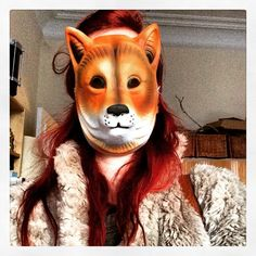 Sunday selfie #sundayselfie #sunday #selfie #fox #foxy #foxyface #foxylady #foxmask #mask #disguise #redhair #redhead #furcoat #scary #creepy #terrifying #horror