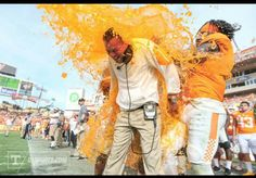 Big orange gatoraide bath after the Outback Bowl 2015!