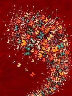 "Saatchi Art Artist Lily Greenwood; Painting, ""Butterflies on Deep Crimson"" #art"