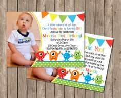 10% Off Sale Monster Birthday Invitation OR by PeriwinklePapery