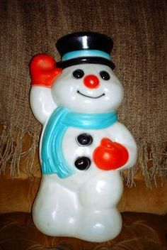 vintage christmas blow mold empire plastic waving snowman - Christmas Blow Mold