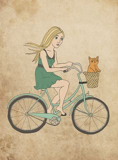 Bike Girl Art Print with little orange cat - Courtney Oquist