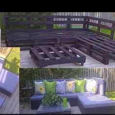 Pallet Outdoor Furniture DIY Patio furniture from pallets. These actually look nice, unlike a lot of other ones I've seen. Outdoor Furniture Plans, Outside Furniture, Wooden Pallet Furniture, Garden Furniture, Diy Furniture, Wooden Pallets, Modern Furniture, Rustic Furniture, Furniture Layout
