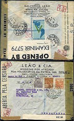 BRAZIL. 1943 'V FOR VICTORY' Label on TRIPLE CENSORED COVER to EDGEBASTON. Via U