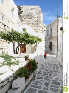 greecian island homes | Stock Image: Typical greek island town - Paros Island, Greece