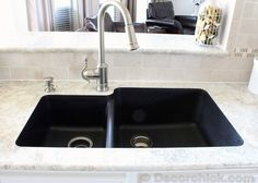 Our New Kitchen Countertops and Gorgeous Quartz Sink! {Kitchen Remodel}   Decorchick! Changing her world, one project at a time